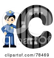 Royalty Free RF Clipart Illustration Of An Alphabet Kid Letter C With A Cop by BNP Design Studio