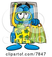 Clipart Picture Of A Desktop Computer Mascot Cartoon Character In Green And Yellow Snorkel Gear