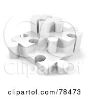 Royalty Free RF Clipart Illustration Of A 3d White Puzzle With Four White Pieces Of Different Height