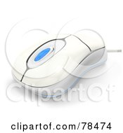 Royalty Free RF Clipart Illustration Of A 3d White And Blue Wired Computer Mouse by Leo Blanchette