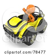 Royalty Free RF Clipart Illustration Of A 3d Orange Design Mascot Man Driving A Yellow Buggy Sports Car