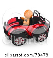 Royalty Free RF Clipart Illustration Of A 3d Orange Design Mascot Man Driving A Red Buggy Sports Car