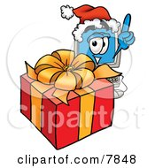 Clipart Picture Of A Desktop Computer Mascot Cartoon Character Standing By A Christmas Present by Toons4Biz
