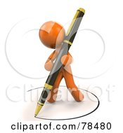 Royalty Free RF Clipart Illustration Of A 3d Orange Design Mascot Man Drawing An Ink Circle With A Pen