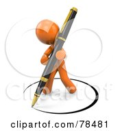Royalty Free RF Clipart Illustration Of A 3d Orange Design Mascot Man Drawing A Circle Of Ink Around Himself With A Pen by Leo Blanchette