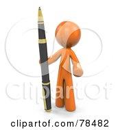 Poster, Art Print Of 3d Orange Design Mascot Man Standing With A Business Pen
