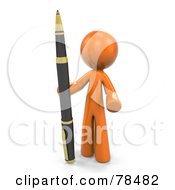Royalty Free RF Clipart Illustration Of A 3d Orange Design Mascot Man Standing With A Business Pen