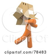 3d Orange Design Mascot Man Walking Around With A Box Over His Head