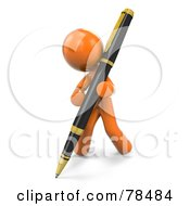 Royalty Free RF Clipart Illustration Of A 3d Orange Design Mascot Man Writing With A Pen