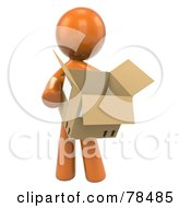 3d Orange Design Mascot Man Carrying A Moving Box