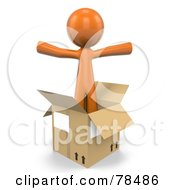 3d Orange Design Mascot Man Standing In An Empty Moving Box