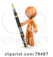 Royalty Free RF Clipart Illustration Of A 3d Orange Design Mascot Man Standing With A Large Pen