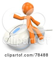 Royalty Free RF Clipart Illustration Of A 3d Orange Design Mascot Man Sitting On A Modern White Computer Mouse by Leo Blanchette