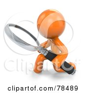 3d Orange Design Mascot Man Kneeling With A Magnifying Glass