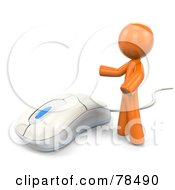 Royalty Free RF Clipart Illustration Of A 3d Orange Design Mascot Man Standing By A Modern White Computer Mouse