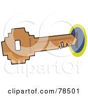 Royalty Free RF Clipart Illustration Of A Key Entering A Hole by Prawny