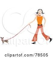 Happy Stylish Woman Walking Her Pooch