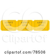 Royalty Free RF Clipart Illustration Of A Yellow Admit One Ticket Strip by Prawny