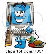 Clipart Picture Of A Desktop Computer Mascot Cartoon Character Duck Hunting Standing With A Rifle And Duck