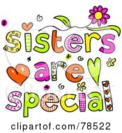 Royalty Free RF Clipart Illustration Of Colorful Sisters Are Special Words by Prawny