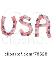 The Word USA Formed With American Flags