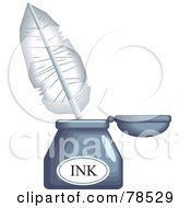 Royalty Free RF Clipart Illustration Of A White Quill In An Ink Well