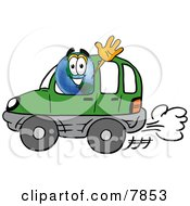 Clipart Picture Of A World Earth Globe Mascot Cartoon Character Driving A Blue Car And Waving by Toons4Biz