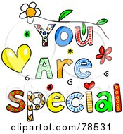 Royalty Free RF Clipart Illustration Of Colorful You Are Special Words