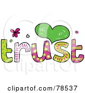 Royalty Free RF Clipart Illustration Of A Colorful Trust Word by Prawny