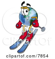 Clipart Picture Of A World Earth Globe Mascot Cartoon Character Skiing Downhill by Toons4Biz