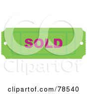 Royalty Free RF Clipart Illustration Of A Green Sold Ticket Stub