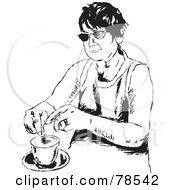 Royalty Free RF Clipart Illustration Of A Black And White Woman Steeping Her Tea by Prawny