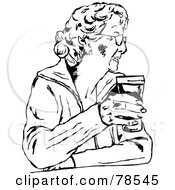 Royalty Free RF Clipart Illustration Of A Black And White Woman Holding A Pint by Prawny