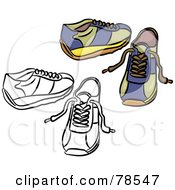 Royalty Free RF Clipart Illustration Of A Digital Collage Of Blue Trainer Shoes With A Black Outline