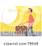 Traveling Man Carrying Luggage And Watching A Plane Fly Above