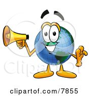 Clipart Picture Of A World Earth Globe Mascot Cartoon Character Holding A Megaphone by Toons4Biz