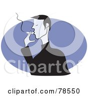 Royalty Free RF Clipart Illustration Of A Man Smoking A Cigarette Over A Purple Oval by Prawny