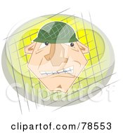Royalty Free RF Clipart Illustration Of A Tough Soldier Face