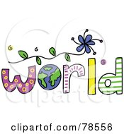 The Colorful Word World With The Earth As The O