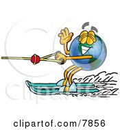 Clipart Picture Of A World Earth Globe Mascot Cartoon Character Waving While Water Skiing