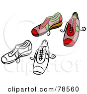 Royalty Free RF Clipart Illustration Of A Digital Collage Of Red Trainer Shoes With A Black Outline