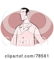 Royalty Free RF Clipart Illustration Of A Snobby Man Over A Pink Oval by Prawny