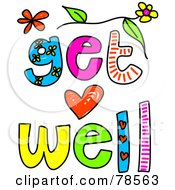 Royalty Free RF Clipart Illustration Of Colorful Get Well Words