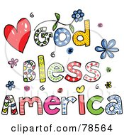 Royalty Free RF Clipart Illustration Of Colorful God Bless America Words