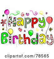 Royalty-Free (RF) Clipart Illustration of Colorful Happy Birthday Words by Prawny