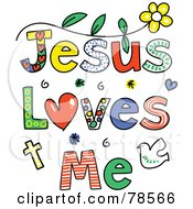 Royalty Free RF Clipart Illustration Of Colorful Jesus Loves Me Words by Prawny