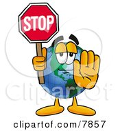 Clipart Picture Of A World Earth Globe Mascot Cartoon Character Holding A Stop Sign by Toons4Biz