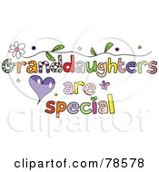 Royalty Free RF Clipart Illustration Of Colorful Granddaughters Are Special Words