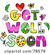 Royalty Free RF Clipart Illustration Of Colorful Get Well Soon Words