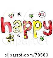 Royalty Free RF Clipart Illustration Of A Colorful Happy Word